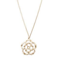 CHANEL(香奈儿) 浅金色山茶花镶水钻珍珠吊坠项链